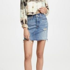 Levi's High Rise Deconstructed Button Fly Skirt -